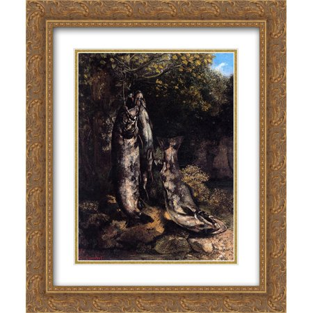 Gustave Courbet 2X Matted 20X24 Gold Ornate Framed Art Print Still Life With Three Trout From The Loue River