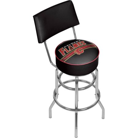 NHL Swivel Bar Stool with Back, Calgary Flames by