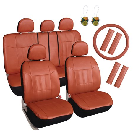 Leader Accessories 17pcs Car Seat Covers Set Universal Fit Interior Decor Faux Leather Rear Front Protector For Truck Suv Airbag Compatible With