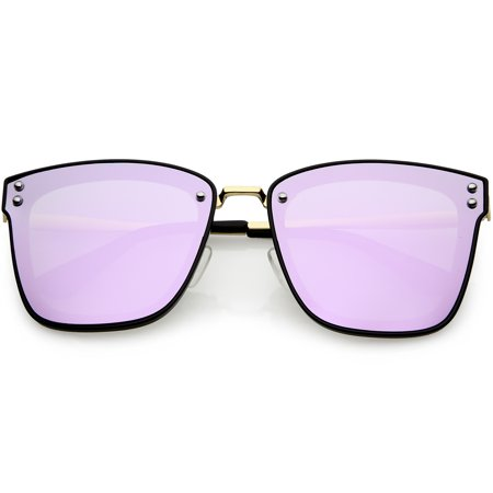 e0935a6900257 sunglassLA - Women s Polarized Oversize Square Sunglasses Colored Mirror  Lens 60mm (Black   Purple Mirror) - Walmart.com