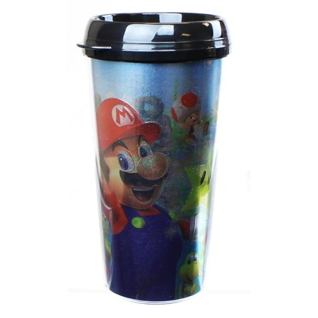 16oz Foil Print Mug Travel Super Mario Party f7Yyv6bg