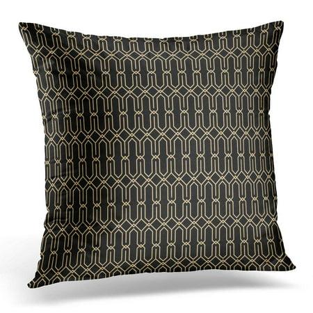 CMFUN Diamond Black Geometric Retro Pattern for Gatsby Gold Pillow Case Cushion Cover 20x20 Inches