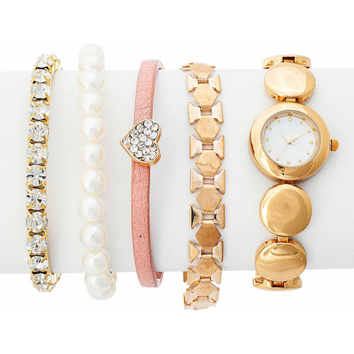 Arm Candy Lady's Pearl Watch and Bracelet Set, Gold Strap