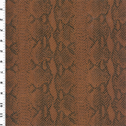 Snake Faux Leather  - Tawny Brown, Fabric By the Yard