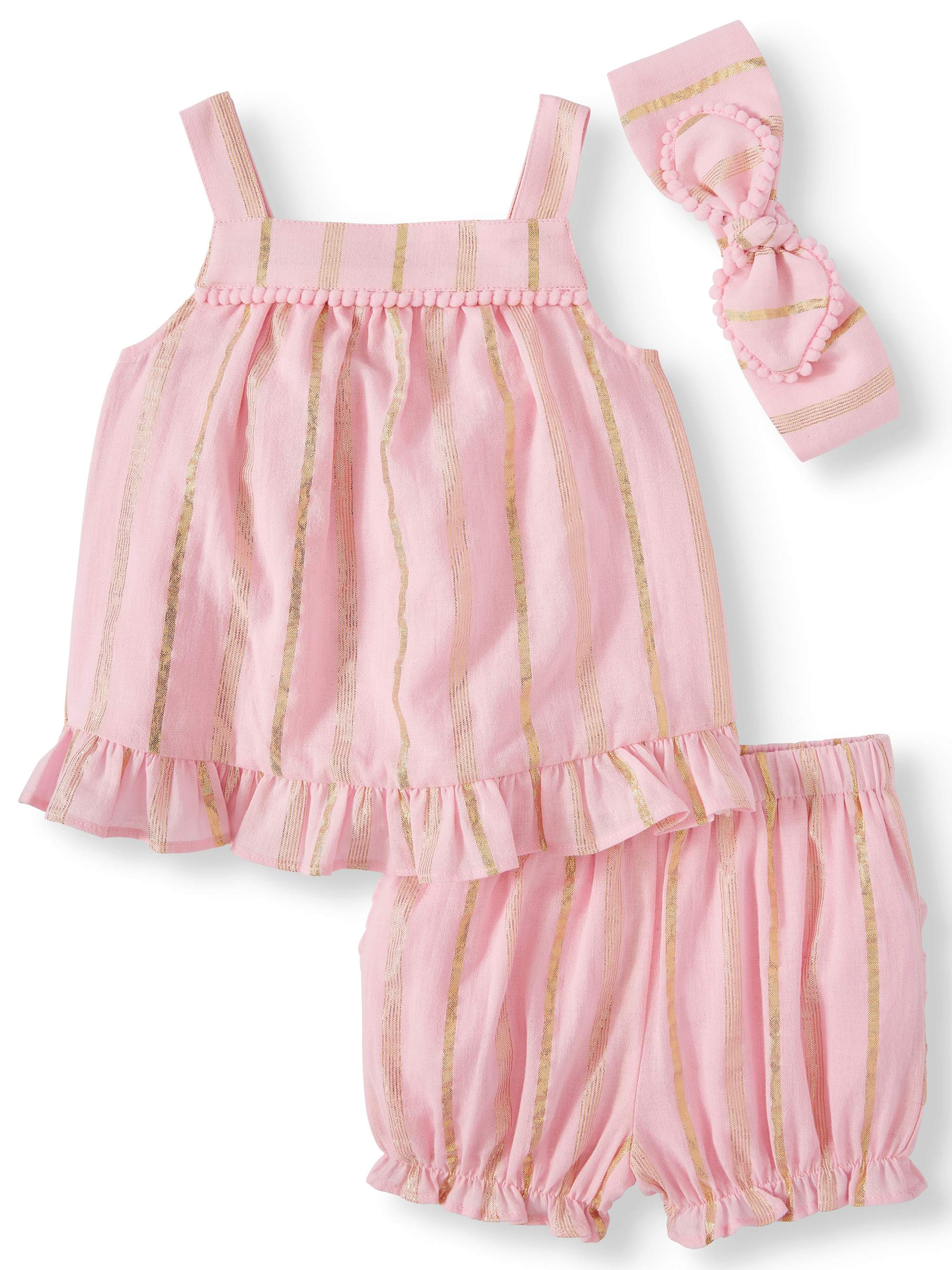 Baby Girls' Striped Woven Babydoll Top, Diaper Cover and Headband, 3-Piece Set