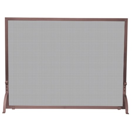 Antique Brass Fireplace Screen - Single Panel Antique Copper Finish Screen