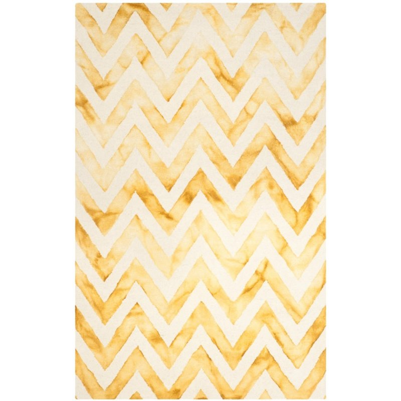 "Safavieh Dip Dye 2'3"" X 6' Hand Tufted Wool Pile Rug in Ivory and Gold - image 1 of 10"