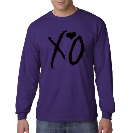 Trendy USA 762 - Unisex Long-Sleeve T-Shirt XO The Weeknd Heart Weekend Blackout 2XL Purple ()