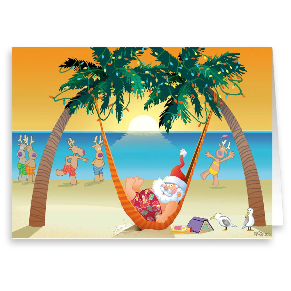 Santa's Tropical Snooze - Funny Holiday Christmas Cards - 18 Cards and 19 Envelopes
