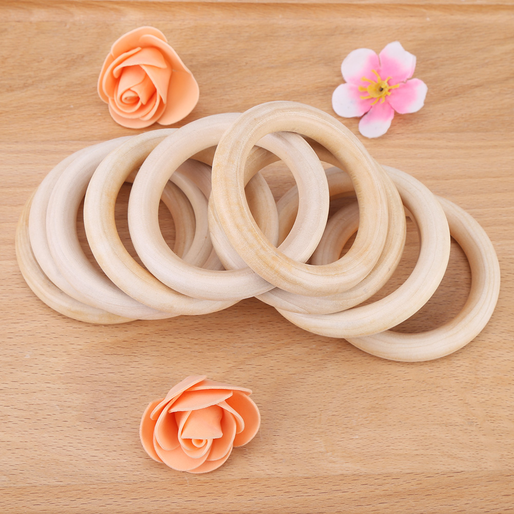 Zerone 10pcs Baby Teething Ring Infant Natural Wood Teether Toy Wooden Bracelet DIY Craft Gift