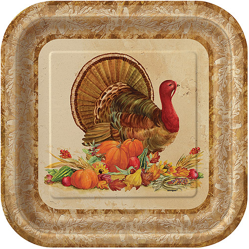 "Unique Thanksgiving Rustic Turkey Square 9"" Dinner Plates, 8 Pack"
