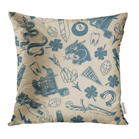 USART Traditional Tattoo Designs Dice Clover Knife Lightning Bolt Panther Pillowcase Cushion Cover 16x16 - Lightning Bolt Tattoo
