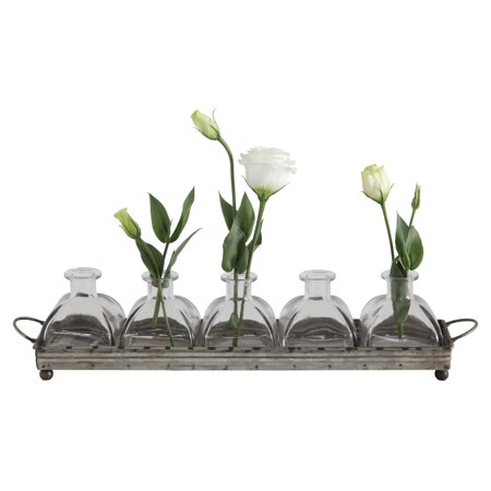 3R Studios Decorative Iron Tray with Handles and 5 Glass -