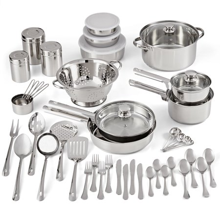 Mainstays Stainless Steel 52-Piece Cookware Combo Set, with Kitchen Tools and Flatware