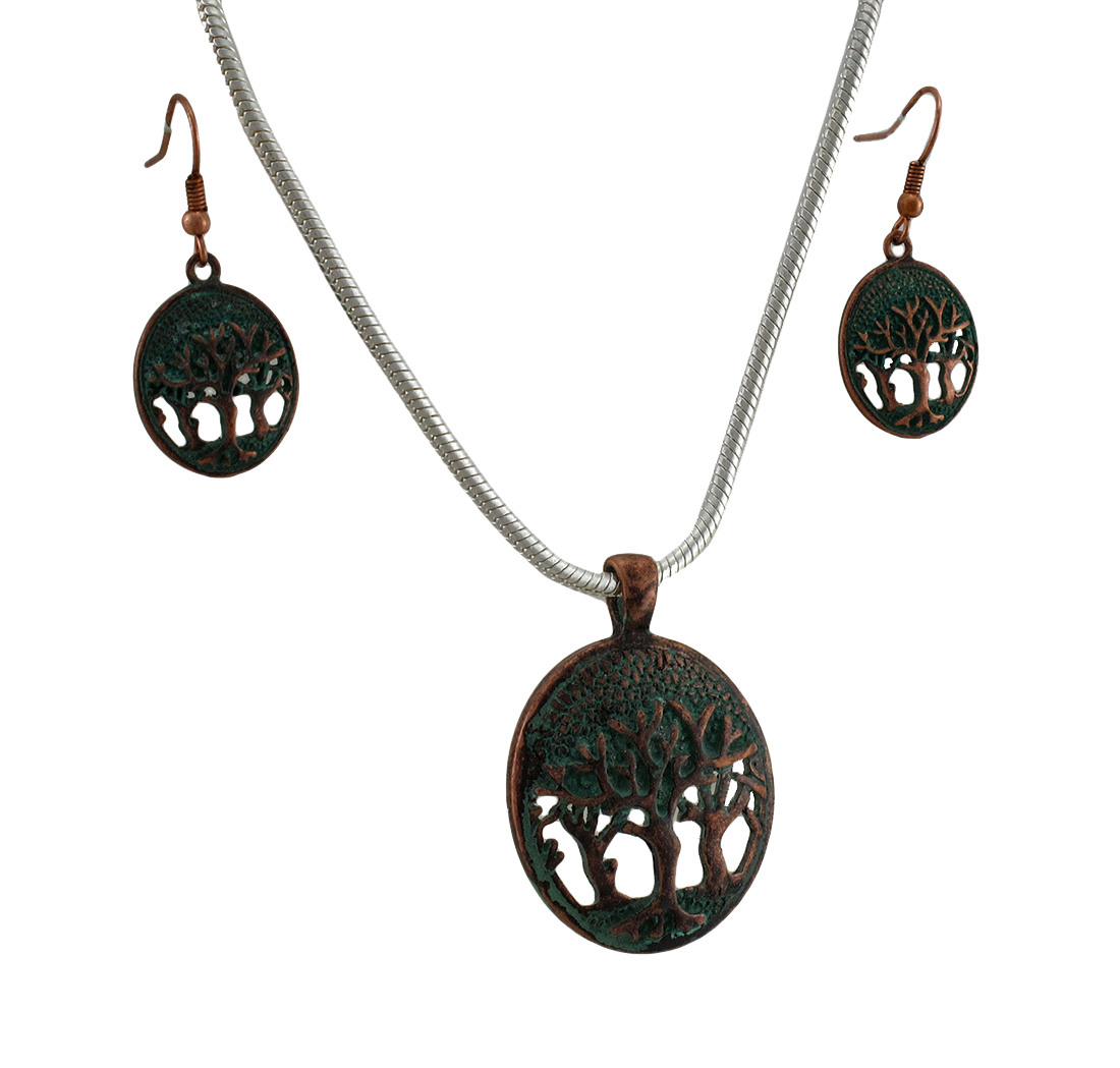 Tree of Life Verdigris Patina Necklace and Earrings Set - image 4 de 4