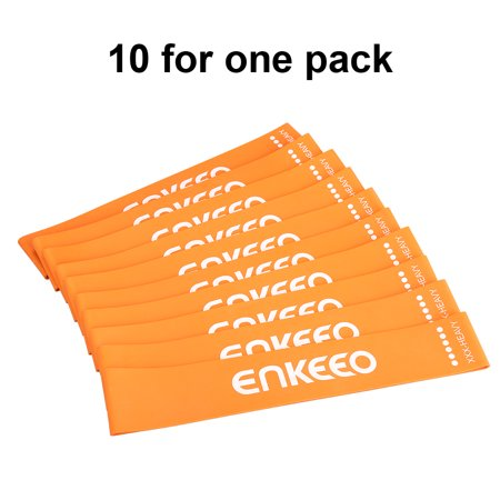 Enkeeo Exercise Resistance Loop Bands 12x2 inch Workout Bands for Yoga Stretching Pilates Physical Therapy Home Fitness with Carry Bag, Set of 10 XXX-Heavy (28-44 lbs),