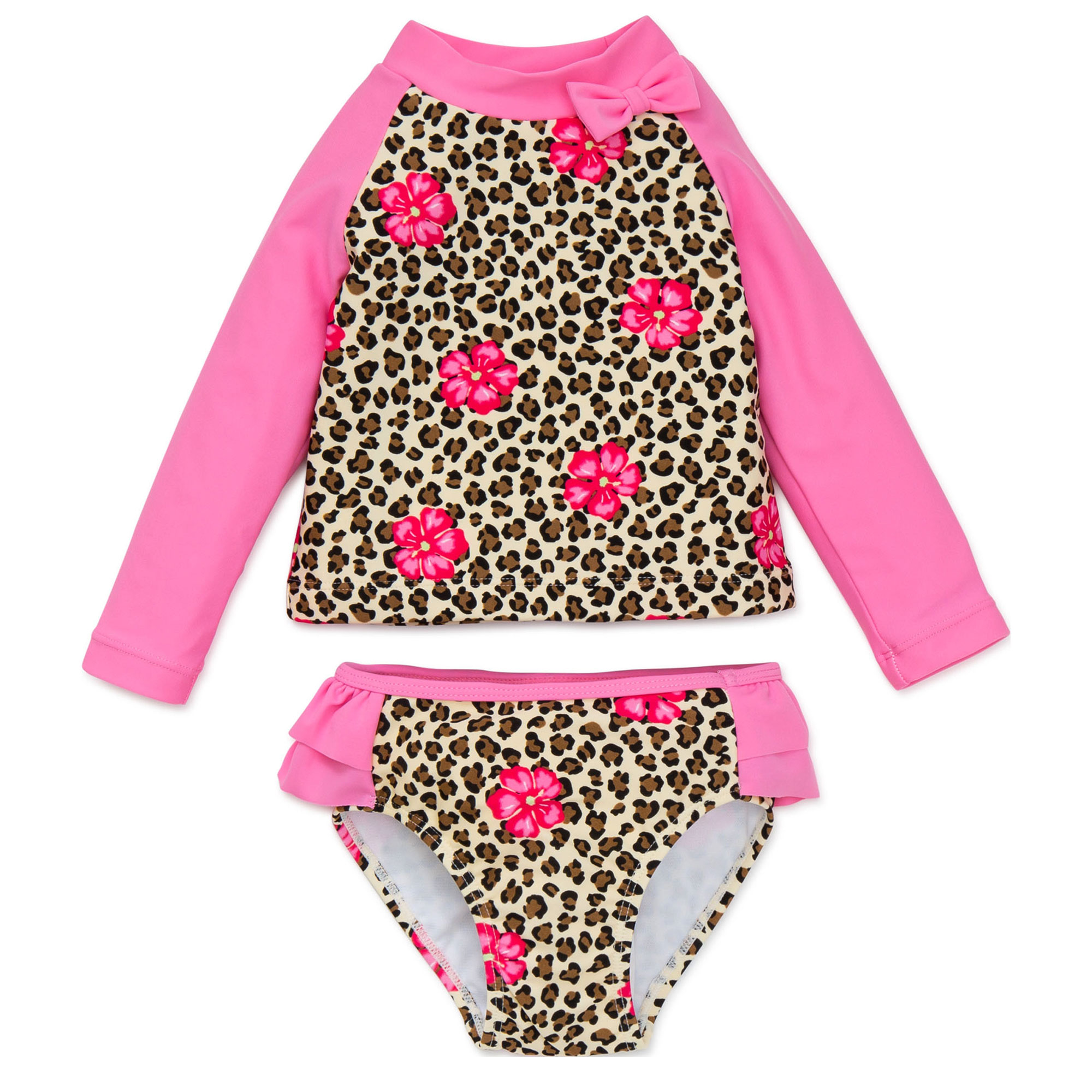 Toddler Girl Leopard Print Long Sleeve 2pc Rashguard Multi 2T by