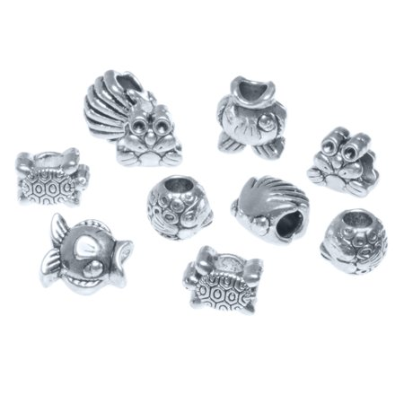 - Craft County Assorted 5mm Silver Metal Bead Packs (10 Piece), Various Theme Options with Multiple Spacers and Charms - Great for Necklaces, Bracelets, DIY Crafts and Jewelry