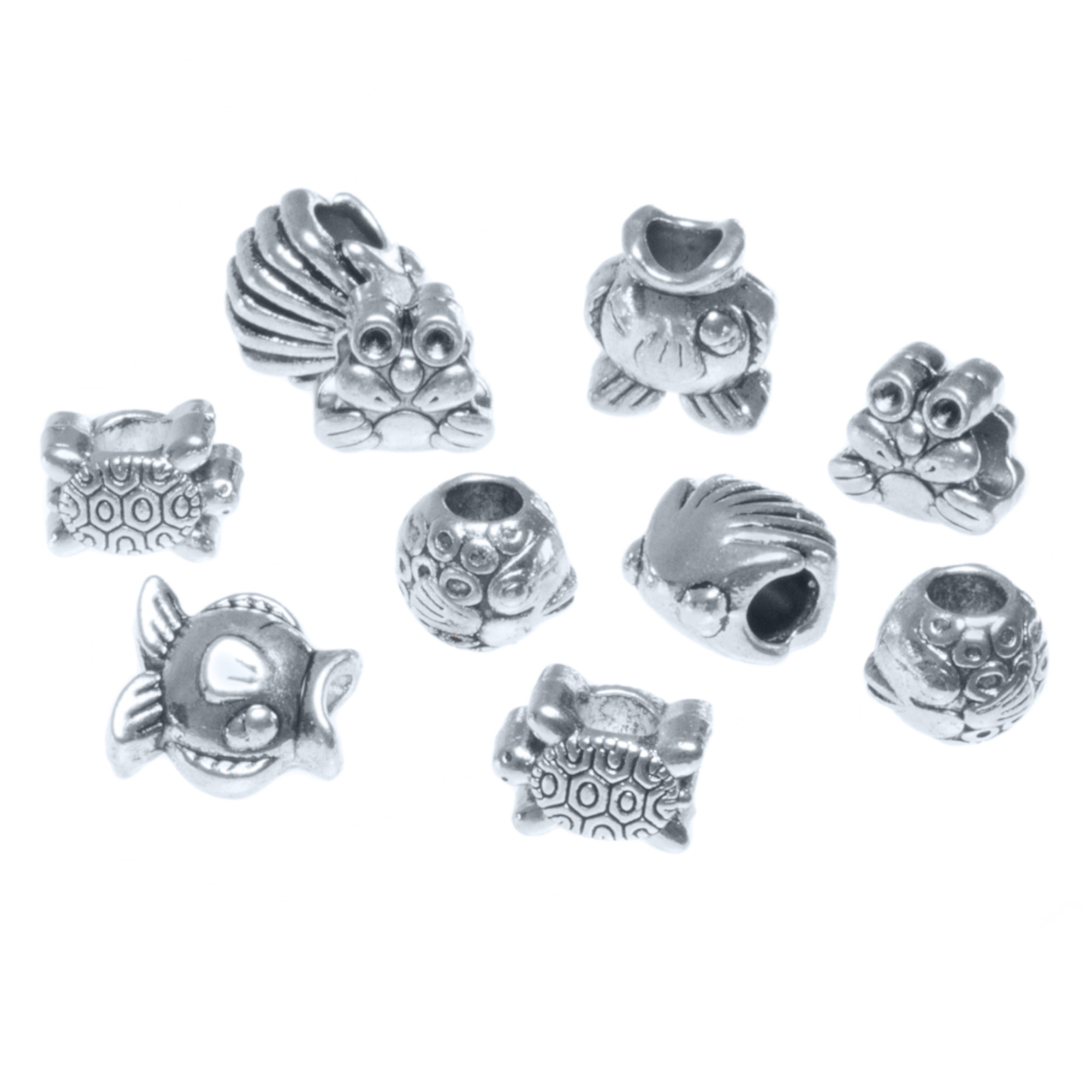 Craft County Assorted 5mm Silver Metal Bead Packs (10 Piece), Various Theme Options with Multiple Spacers and Charms - Great for Necklaces, Bracelets, DIY Crafts and Jewelry