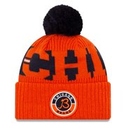 Chicago Bears New Era 2020 NFL Sideline Alternate B Logo Sport Pom Cuffed Knit Hat - Orange/Navy - OSFA