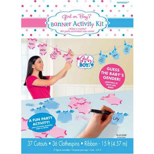 Baby Shower Gender Reveal 'Girl or Boy' Banner Activity Kit (1ct)](Welcome Baby Boy Banner)