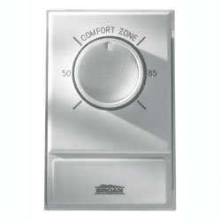 Broan Nutone Line voltage wall thermostat. Snap action bi-metallic, single pole — rated 120/240VAC, 22 amps. Temperature range 50 – 85° F. Decorator white finish. - Line Voltage Single Pole