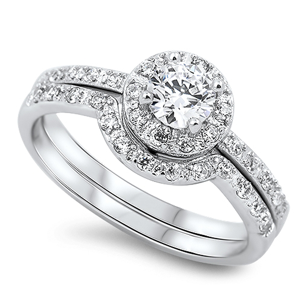 Men's Sterling Silver CZ Halo Matching Band 2 pcs Engagement Bridal Wedding Ring Set 10MM ( Size 5 to 10 )