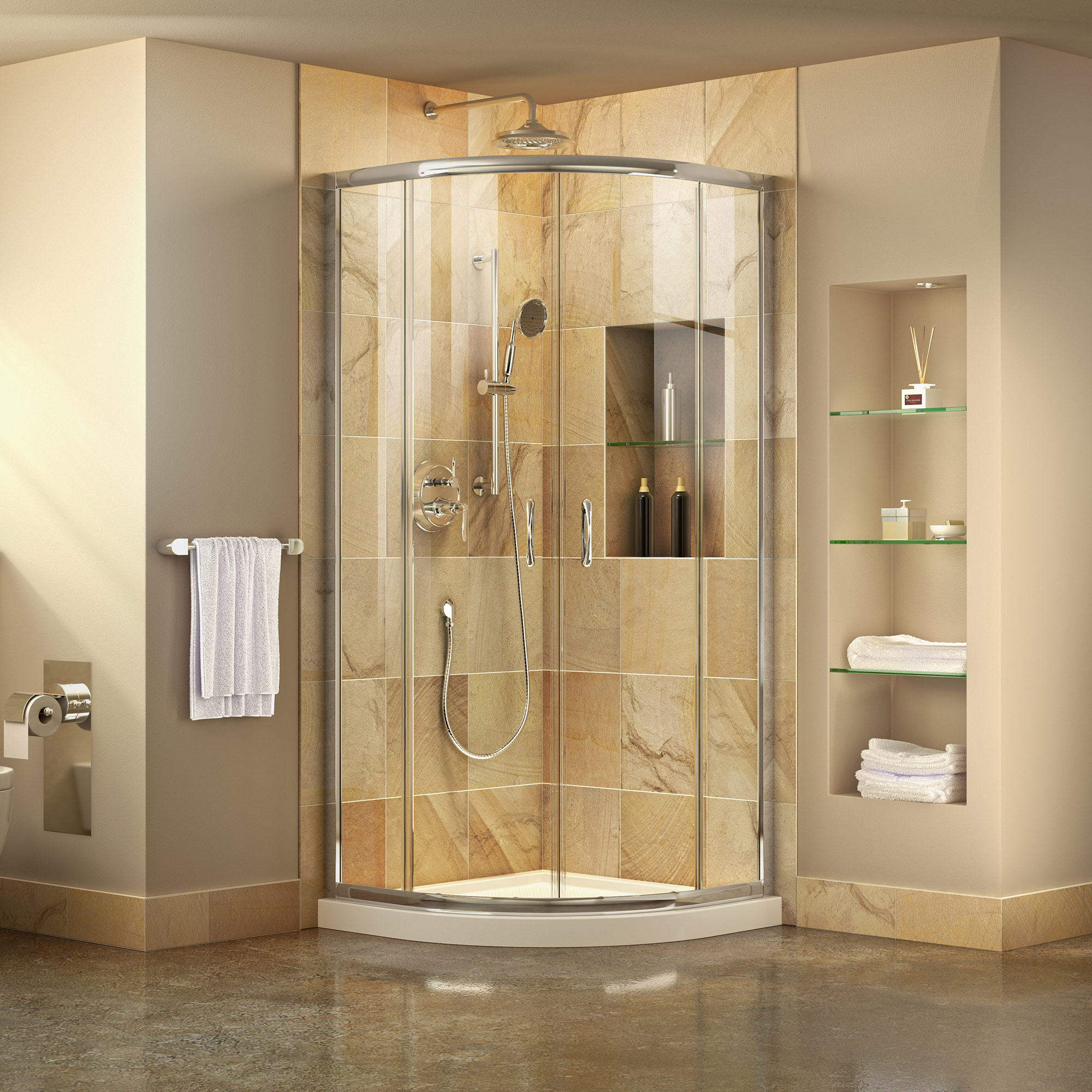DreamLine Prime 33 in. D x 33 in. W x 74 3/4 in. H Clear Framed Sliding Shower Enclosure in Chrome, Corner Drain White Base Kit