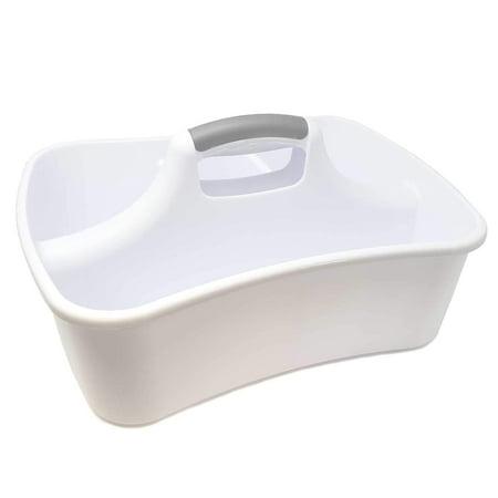 Bath Kitchen 4 in 1 Compartment Caddie Storage Sink Faucet Organizer Janitor Soap Cleaning Brush Sponge Bottle Holder Divided Shower Basket Supplies Utensil Cabinet Container Dish Washing Liquid ()