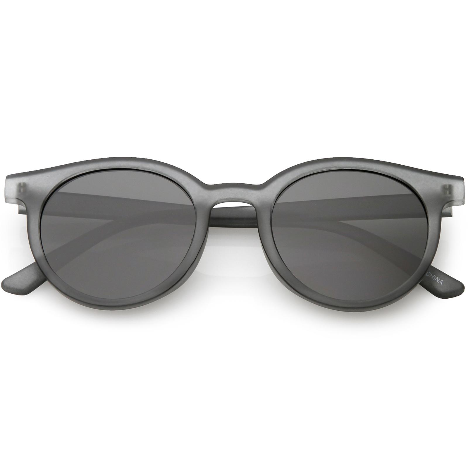 a5b1b29fb Retro Horn Rimmed Sunglasses Round Neutral Colored Flat Lens 51mm (Tortoise  / Brown )
