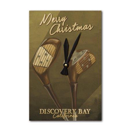- Discovery Bay, California - Merry Christmas - Golf Clubs - Lantern Press Artwork (Acrylic Wall Clock)