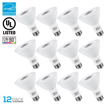 TORCHSTAR 12 Pack LED Flood Light Bulbs, Dimmable 12W LED PAR30 Light Bulb, 3000K Warm - Watt Par30 Flood