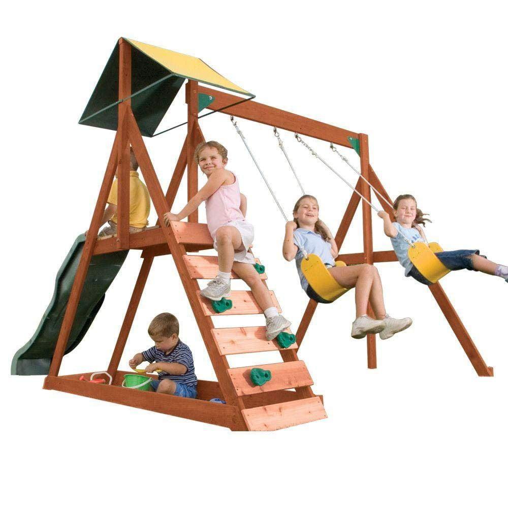 KidKraft Sunview II Wooden Outdoor Backyard Swing and Slide Playset w/ Sandbox
