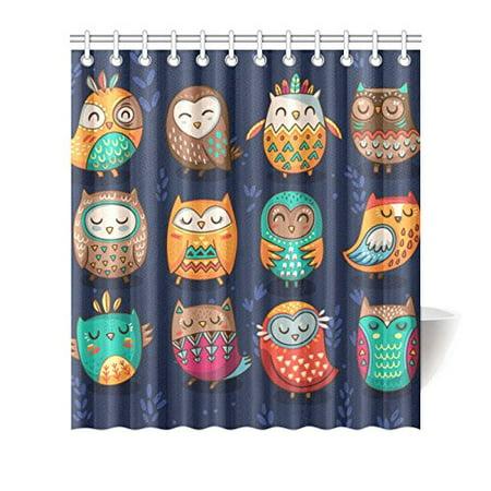 MKHERT Cute Owls Shower Curtain Waterproof Bath Decor 66x72 Inch