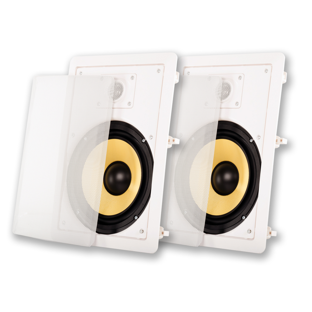 "Acoustic Audio HD800 In Wall 8"" Speakers Made with Kevlar Home Theater Pair"