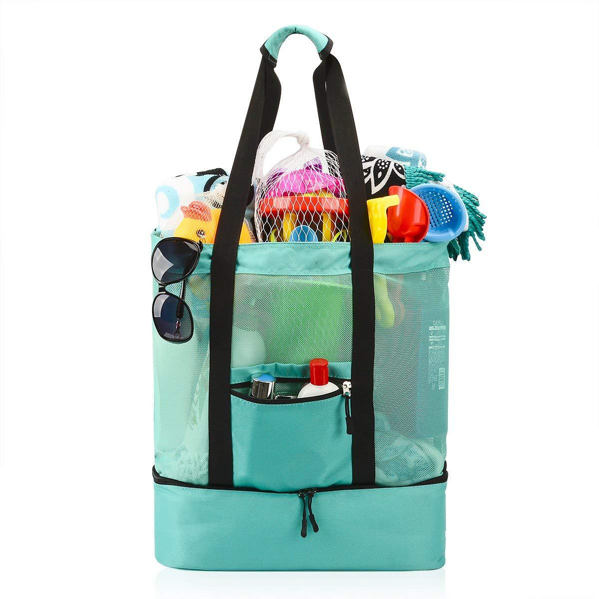 Ylouqumuf Mesh Beach Tote Bag with Zipper Top and Insulated Picnic Cooler Turquoise