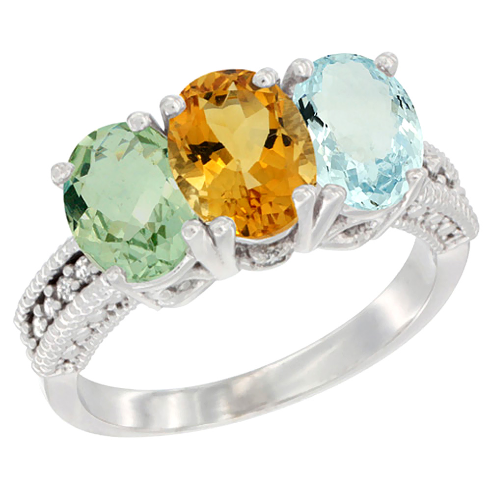 10K White Gold Natural Green Amethyst, Citrine & Aquamarine Ring 3-Stone Oval 7x5 mm Diamond Accent, sizes 5 10 by WorldJewels