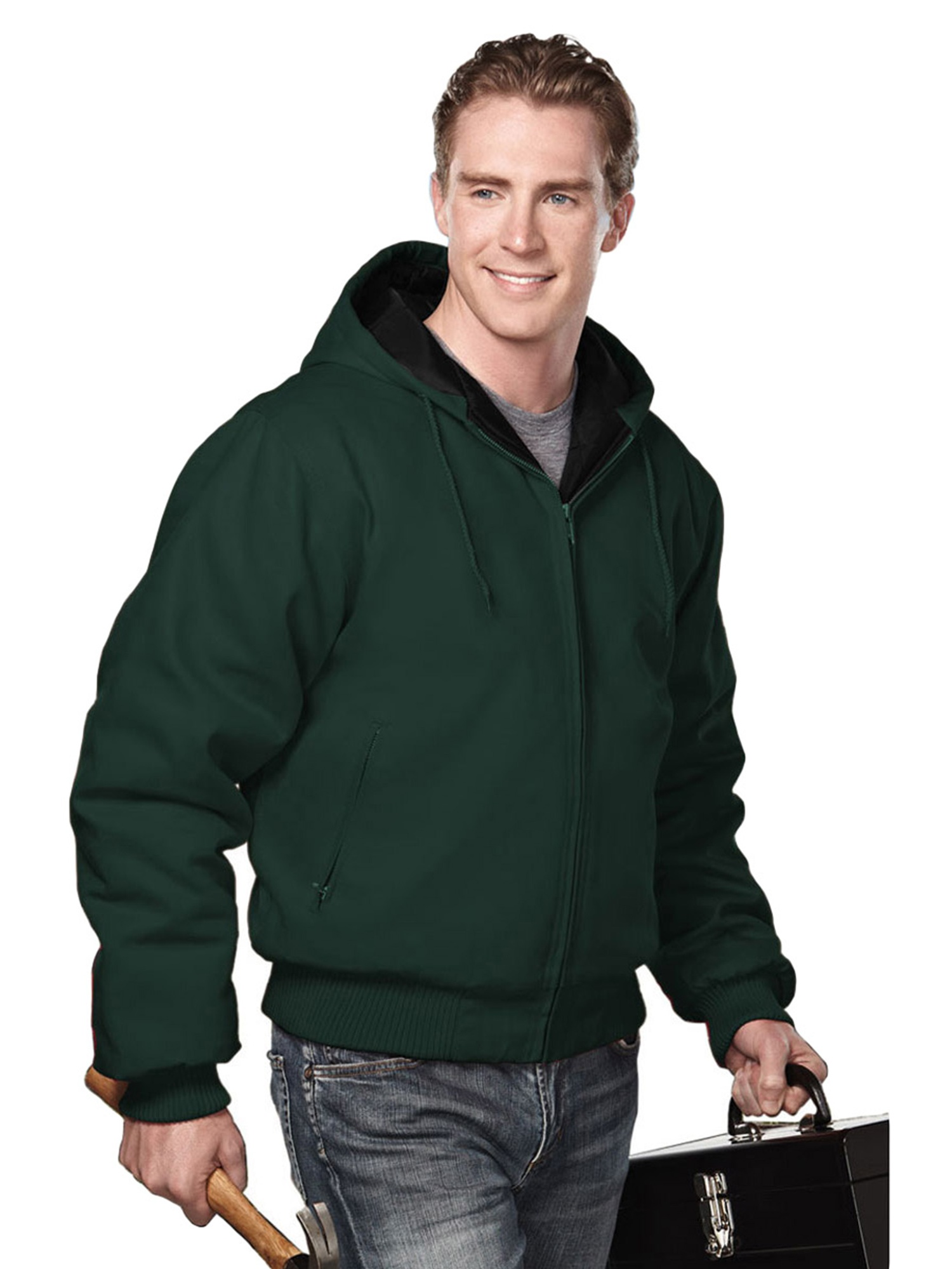 Tri-Mountain Men's Big And Tall Canvas Hooded Jacket
