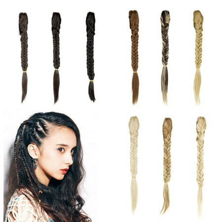 FLORATA Free Style Sexy Ladies Long Braided Fishtail Fishbone Ponytail Clip in Natural Hair Extension Ponytail