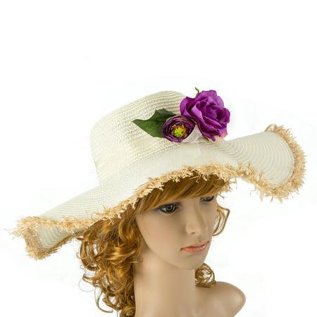 Pink Rose - White Floppy Hat Light Pink Flower Kentucky Derby Garden Party Or Weddings Wide Brim Straw Hat Beach Bridal Shower - Kids Derby Hats