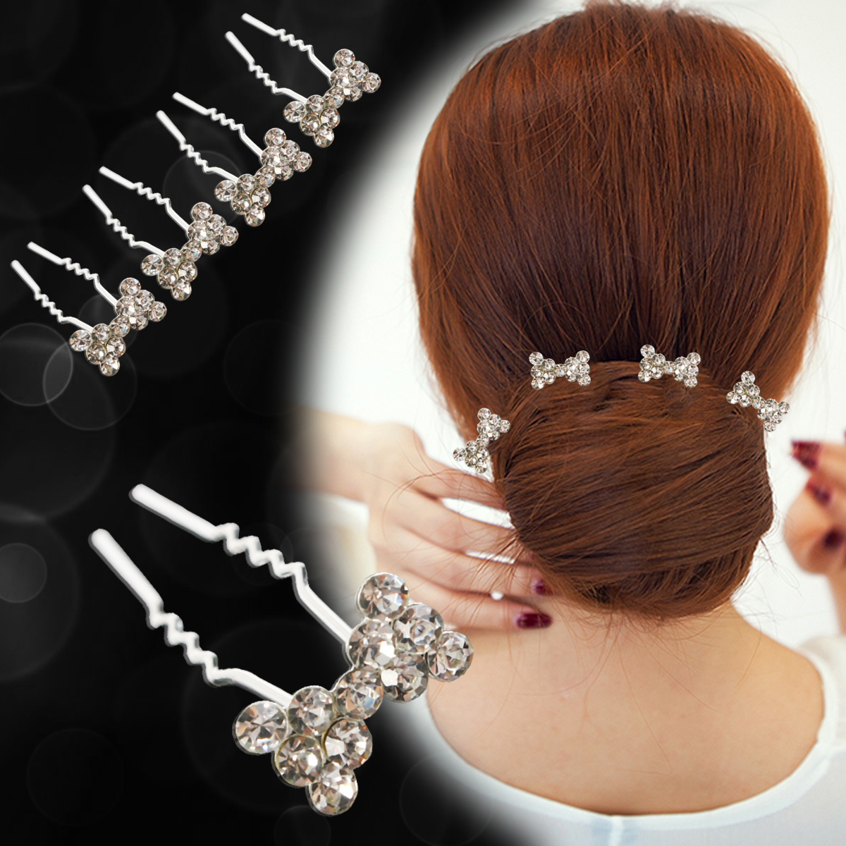 20Pcs Women's Bridal Pearl Rhinestone Decorated U-Shaped Hairpins Hair Clips