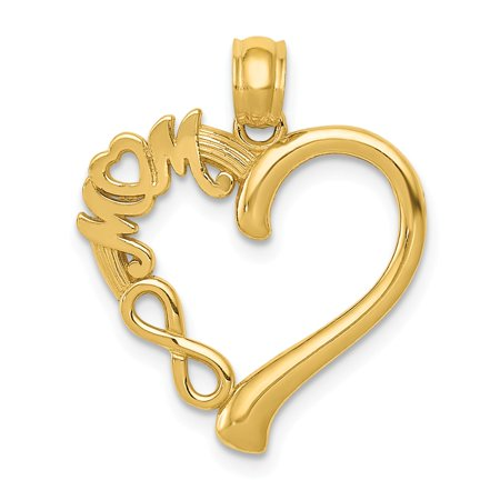 (14K Two-Tone Polished Mom In Heart With Infinity Symbol Pendant 22.6mm x 18.7mm)