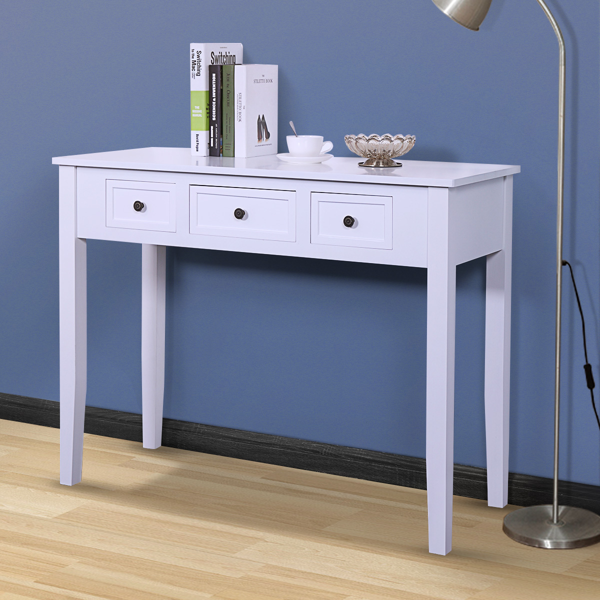 Jaxpety White Computer Writing Desk Table Modern Simple Design Wood Organizer Home Office Bedroom w/ 3 Drawers