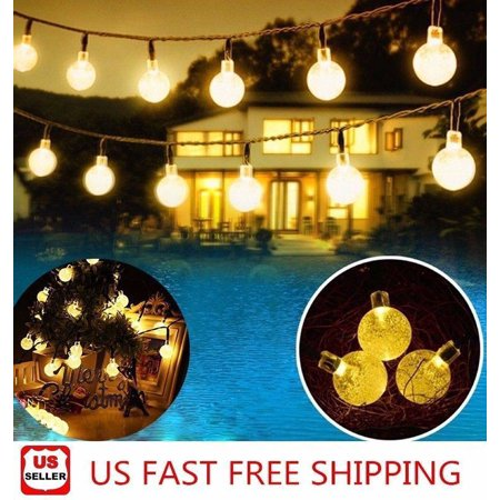 20ft 30 LED Solar String Ball Lights Outdoor Waterproof Warm White Garden Decor - Hanukkah String Lights