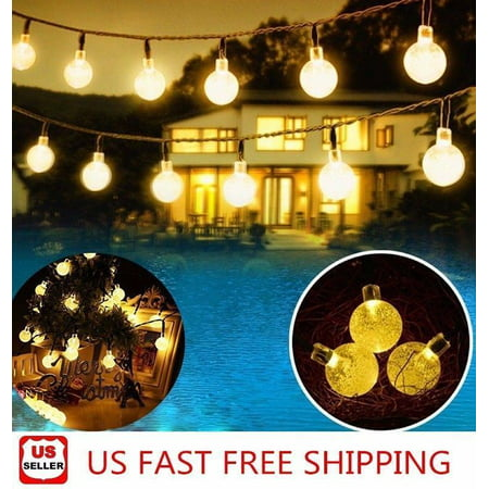 20ft 30 LED Solar String Ball Lights Outdoor Waterproof Warm White Garden Decor ()