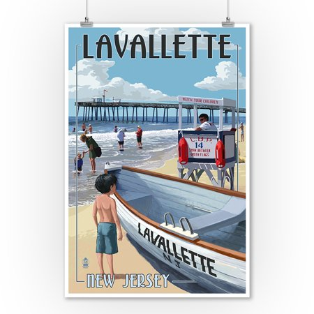 Lavallette, New Jersey - Lifeguard Stand - Lantern Press Artwork (9x12 Art Print, Wall Decor Travel Poster) (Wall Stand Decor)