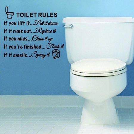 DIY Toilet Rules Bathroom Toilet Wall Sticker Vinyl Art Decals Home Decoration ()