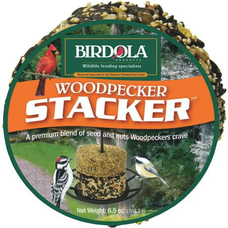 Birdola Woodpecker Seed & Nut Cake Stacker, - Woodpecker Cake