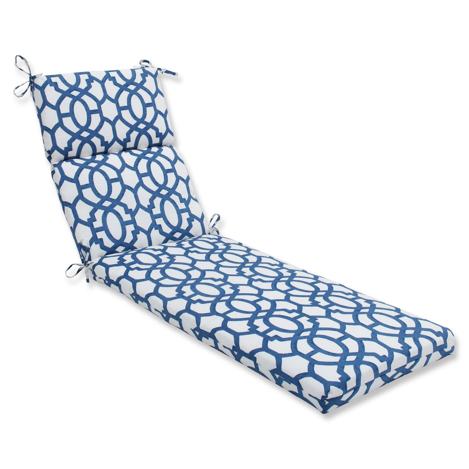 "72.5"" Imperial Blue Grecian Trellis Outdoor Patio Chaise Lounge Cushion"
