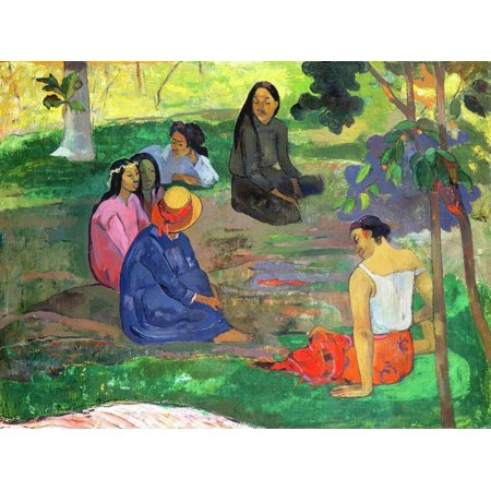 Les Parau Parau (The Gossipers), or Conversation, 1891 Group of Tahitian Women Seated Painting Print Wall Art By Paul -